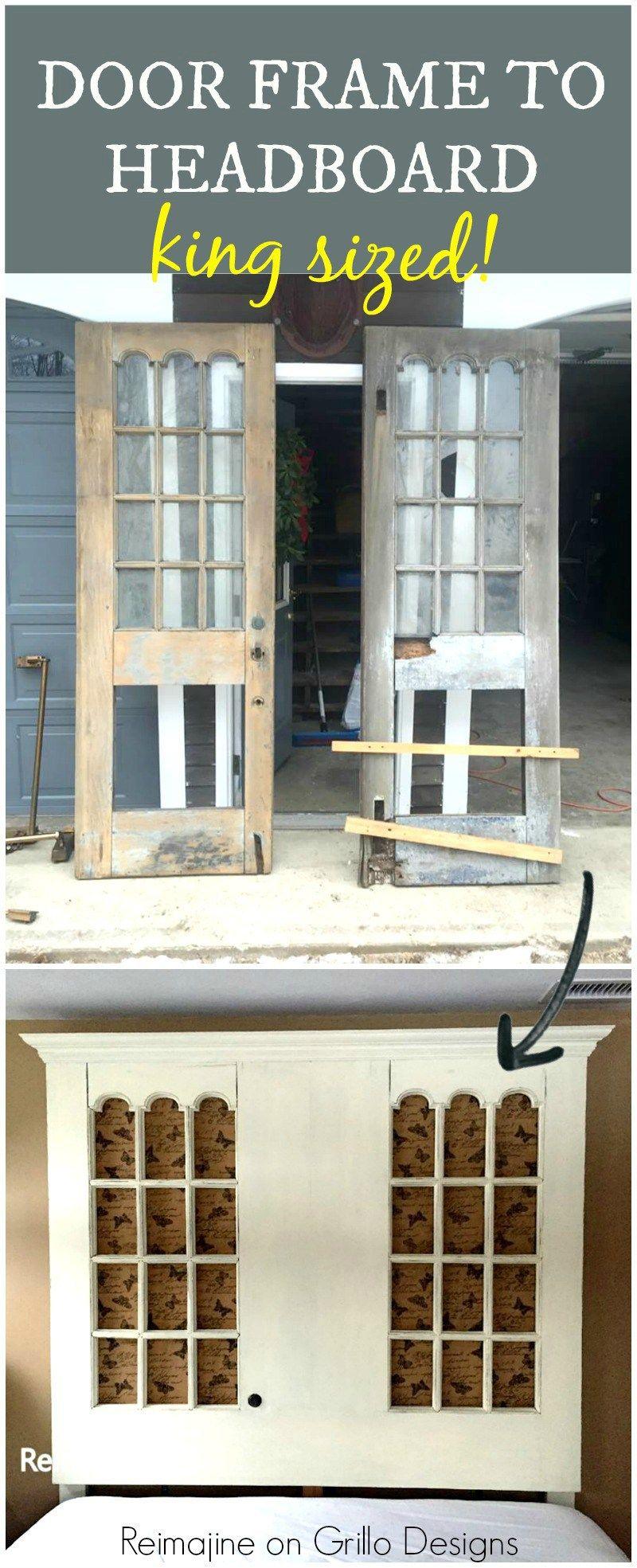 Ideen Kopfteil · Selbstgemachte Kopfteile · Kingsize Kopfteil · Diy Tür ·  Holz · Door Frame To Head Board Pinterest