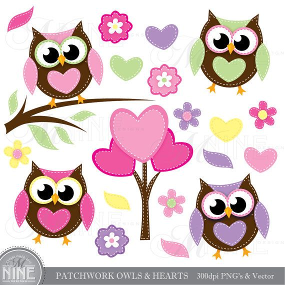 PATCHWORK OWLS & HEARTS Digital Clipart Clip Art, Instant Download, Pink Valentines Love Stitched Flowers Vector File Graphics Illustrations...