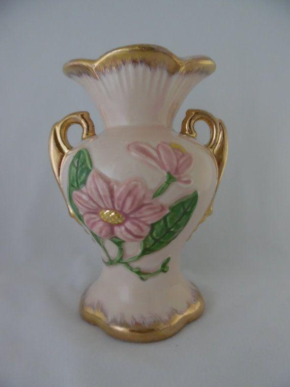 Vintage Vase Hull Pottery Pink Magnolia Pink Green Gold Trimmed