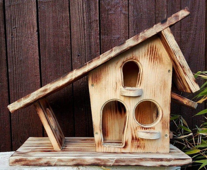 vogelfutterhaus massiv natur ländlich rustikal mit