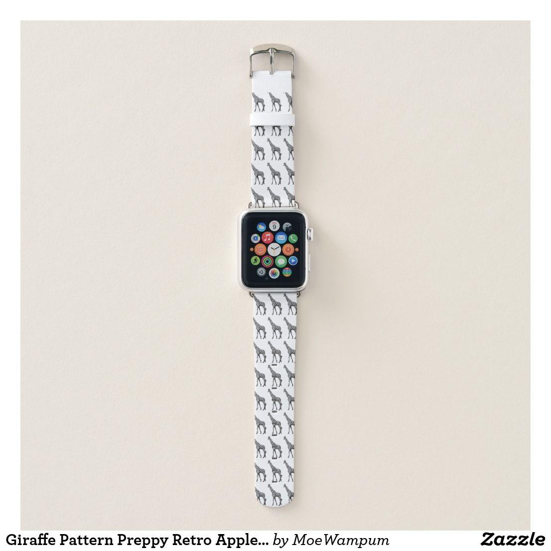 Giraffe Pattern Preppy Retro Apple Watch Band Zazzle Com With