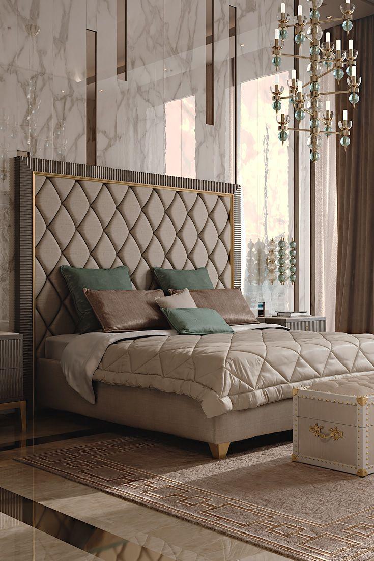 Best Italian Designer Art Deco Inspired Upholstered Bed With 400 x 300