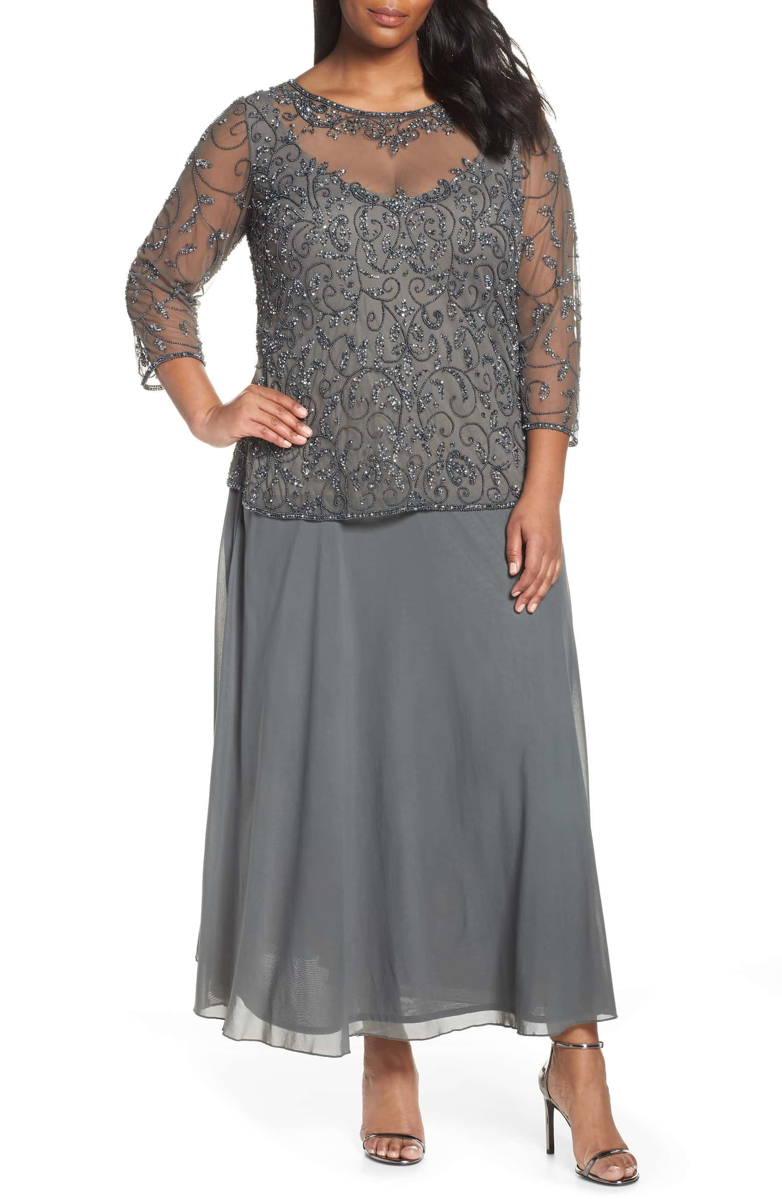 a22e73e0ff02 Pissaro Nights Beaded Mesh Mock Two-Piece Gown, Main, color, GREY ...