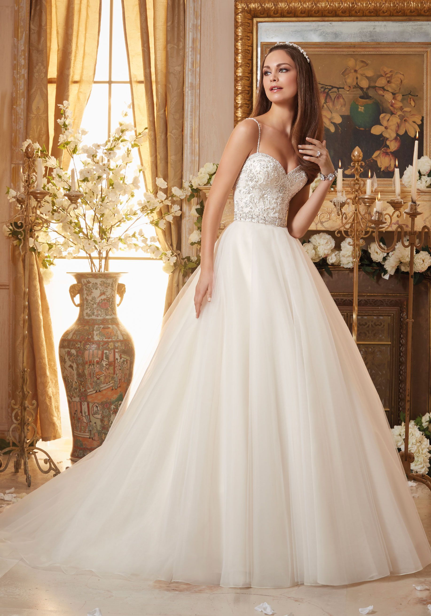Beaded spaghetti strap wedding dresses  Crystal Beaded Embroidery on Circular Tulle Ball Gown Wedding Dress