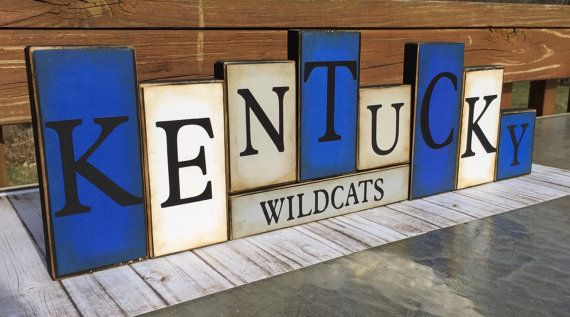 Kentucky Sign  Wildcats Word Blocks - UK Wooden Block Set - Kentucky Wildcats Shelf Sitter