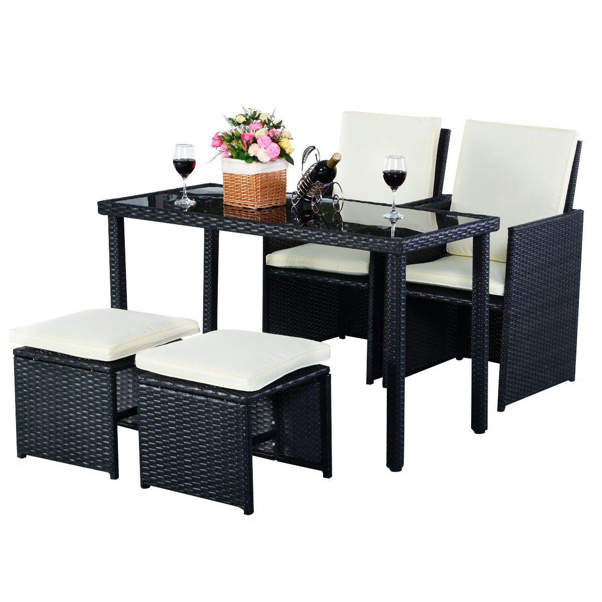 Tangkula Patio Furniture Outdoor Wicker Rattan Dining Set