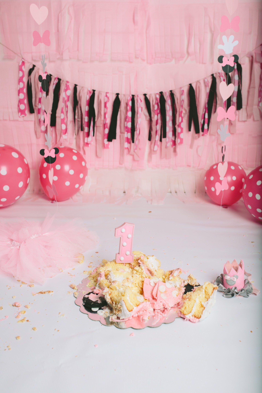 Minnie Mouse Themed Cake Smash 1st birthday babys first birthday