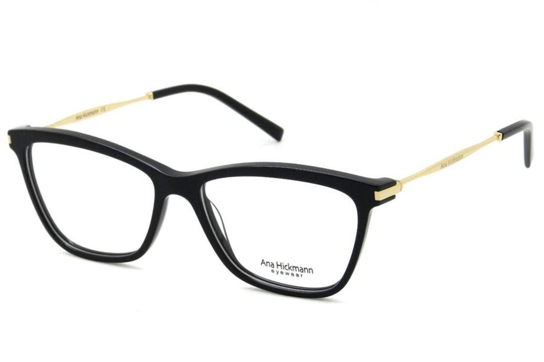 Oculos De Grau Ana Hickmann Ah6254 A01 55 Preto E Dourado Oculos