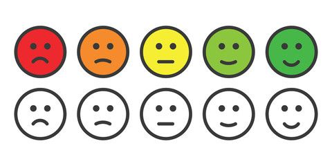 Emoji Icons For Rate Of Satisfaction Level Face Icon Emoji Emotion Faces