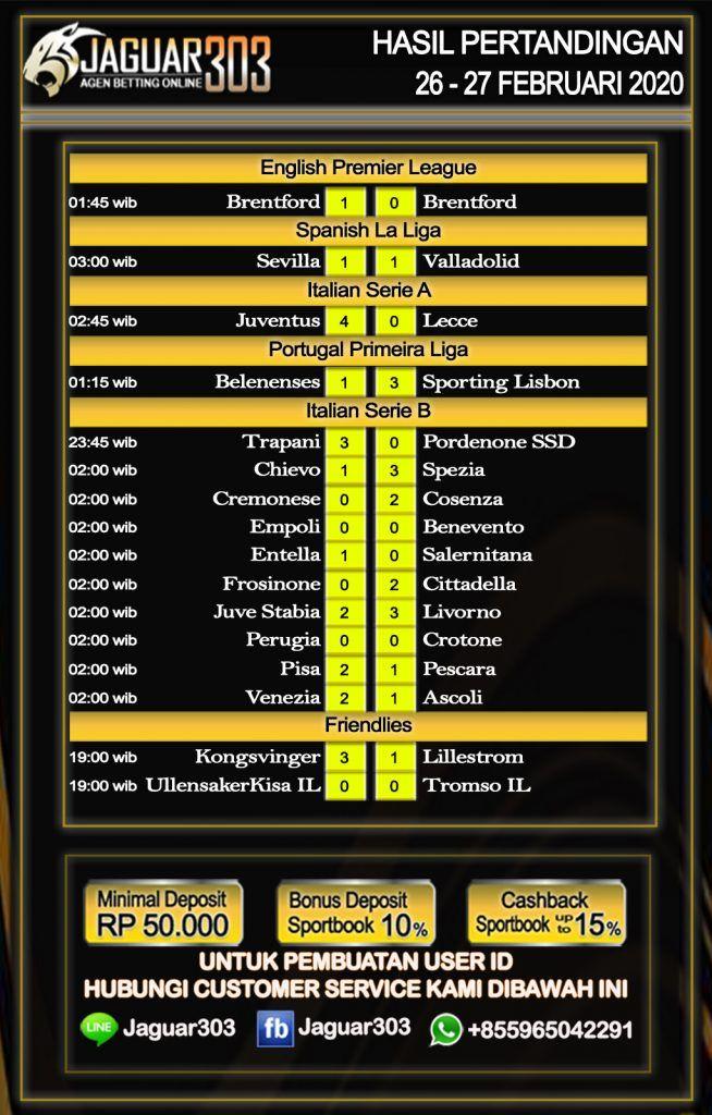 Hasil Pertandingan Sepak Bola 26 27 Juni 2020