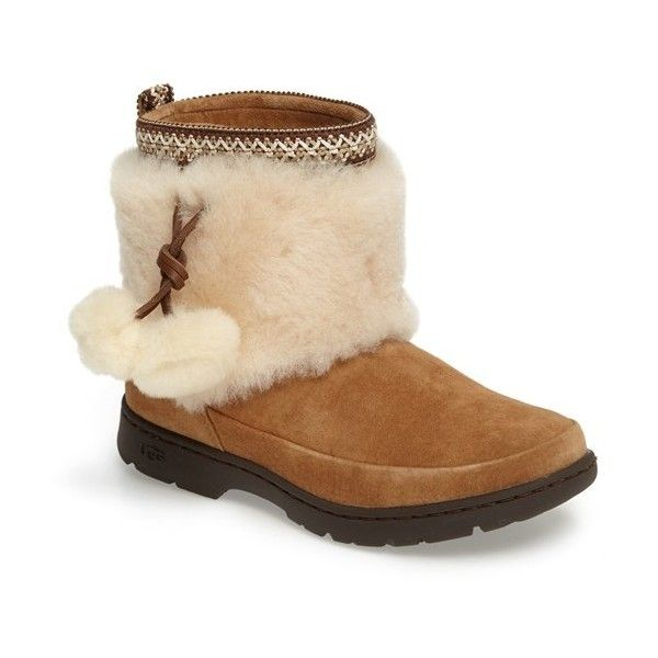 Women's Ugg Brie Genuine Shearling Waterproof Bootie ($180) ❤ liked on  Polyvore featuring shoes