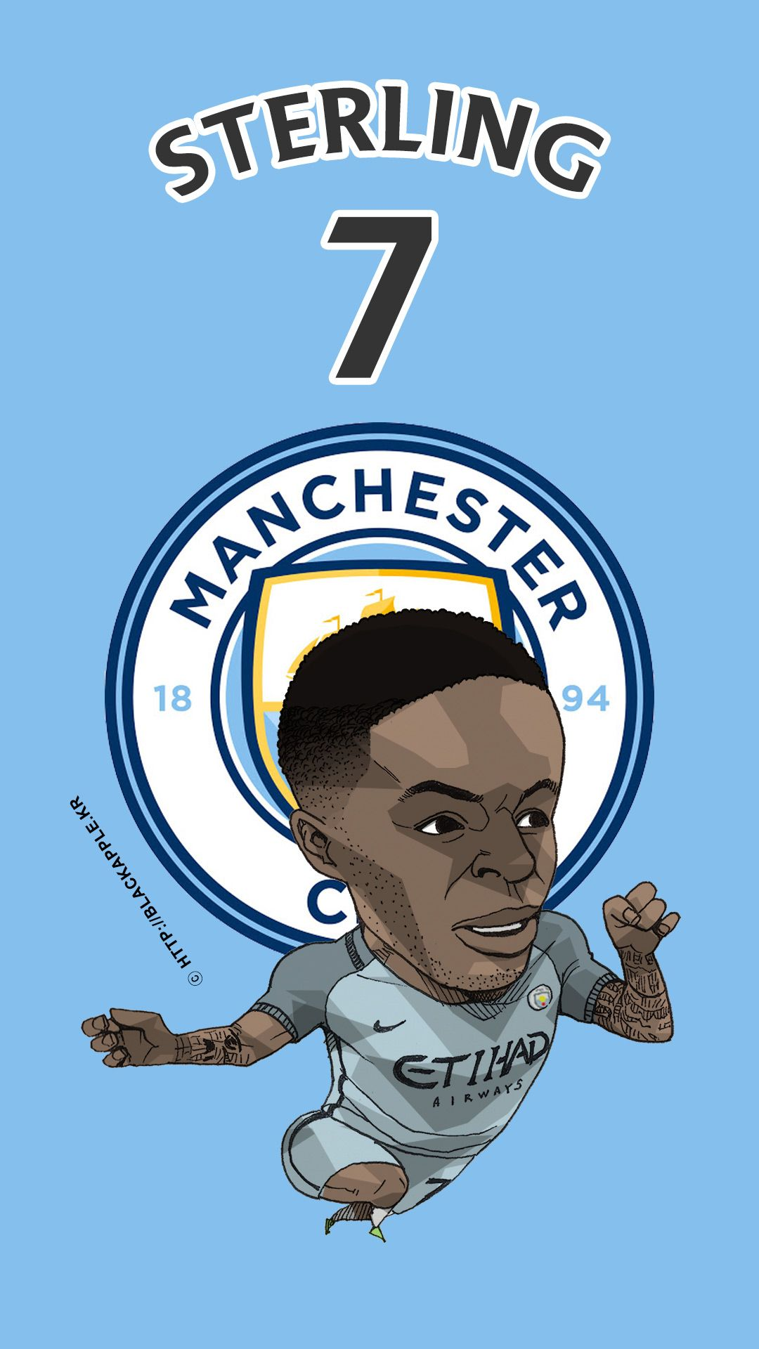 1780bf7677acd Manchester City No.7 Raheem Sterling Fan Art Ver2
