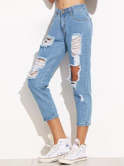 Vaqueros Rotos Skinny Azul Moda De Ropa Ropa De Moda Pantalones De Moda