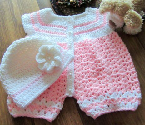 Crochet Baby Romper Handmade Outfits Pants Baby Girl