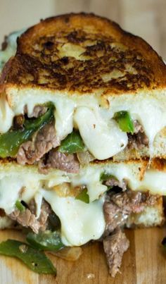 Philly Cheese Steak Grilled Cheese #sandwichrecipes
