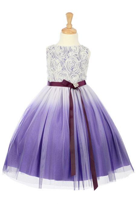 e8f5f0762 Purple+Rosett+Detail+Ombre+Printed+Tulle+Flower+Girl+Dress+KD-322-PP+on+www. GirlsDressLine.Com