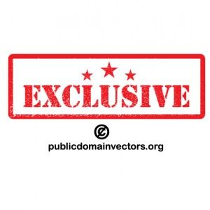 PublicDomainVectors.org-Grunge vector sticker with text Exclusive and three stars.