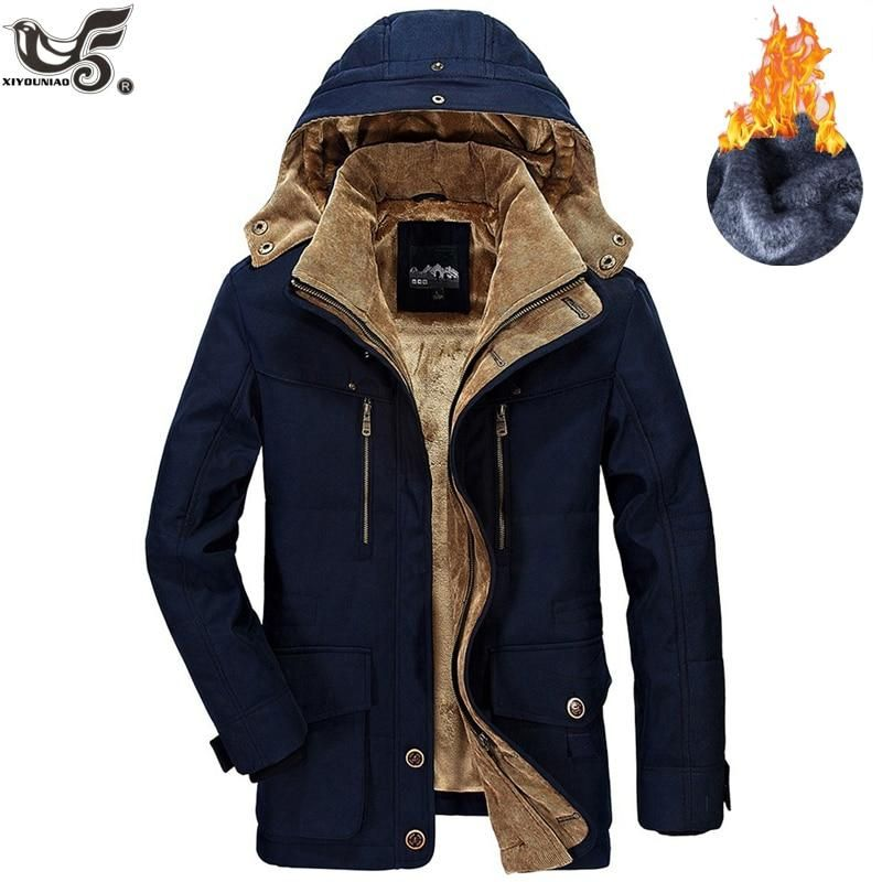 pipigo Men Quilted Fleece Linen Hooded Stand Collar Warm Down Jacket Coat