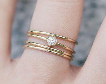 Five Diamond Band 14k Yellow Gold Diamond Ring Diamond Engagement