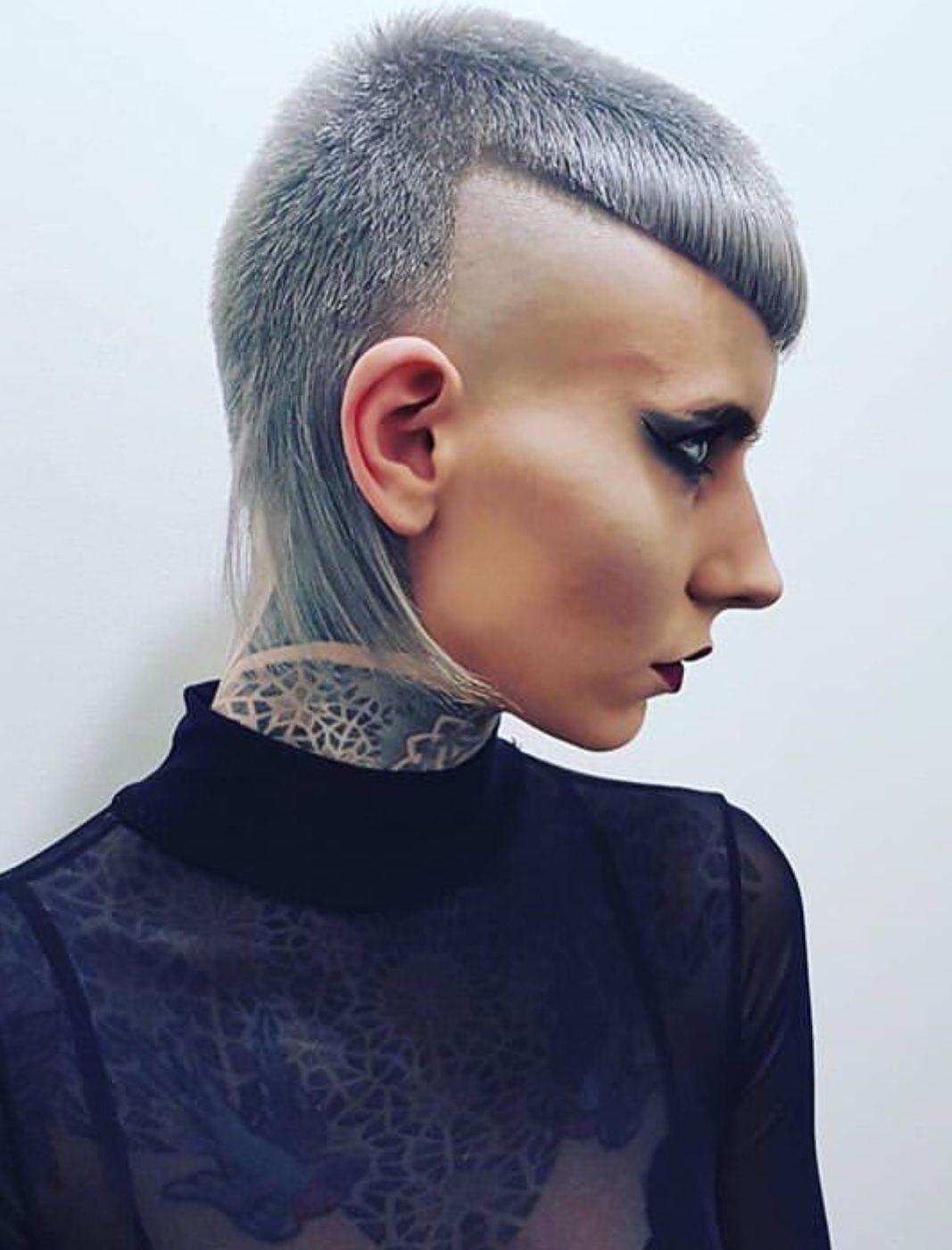 Mullet Girl With Micro Bangs Mullet Hairstyle Short Hair Styles Hair Styles