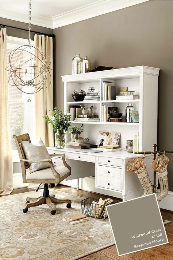 exciting home office paint color ideas | Wildwood Crest by #BenjaminMoore #RingsEnd in 2019 | Home ...