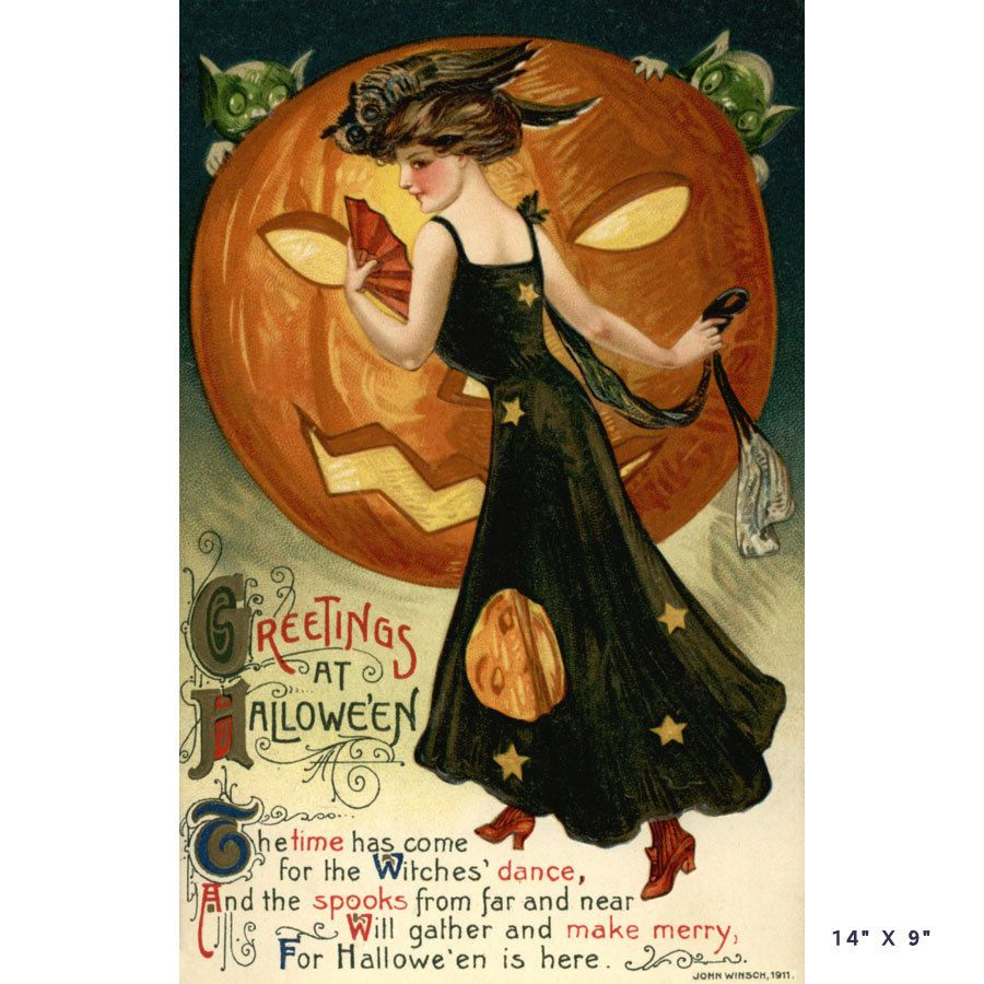 "Halloween Greetings Vintage Post Card Print on Canvas 9"" X 14"" Hallowe'en Postcard. $25.20, via Etsy."