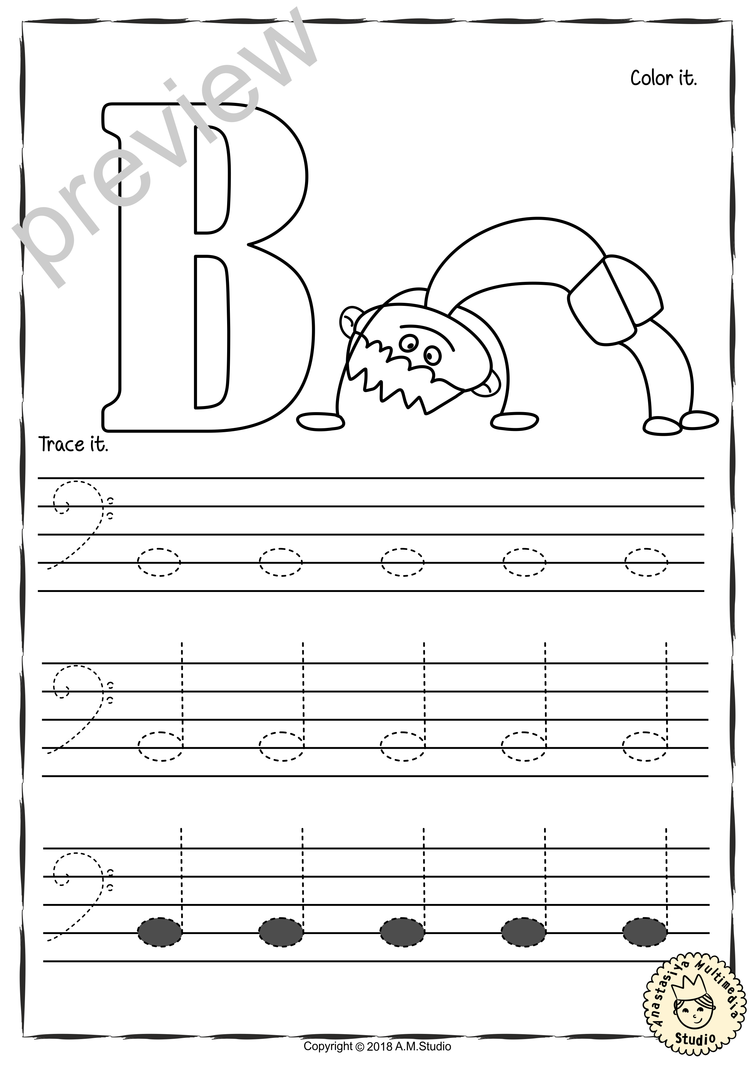 Tracing Music Notes Worksheets For Kids Bass Clef With