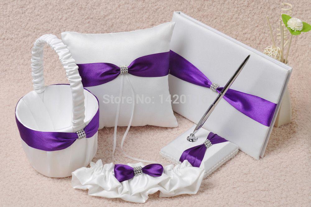 5Pcs/Set Purple&White Wedding Guest Book and Pen Set Ring Pillow Flower Girl Basket Garter GB27
