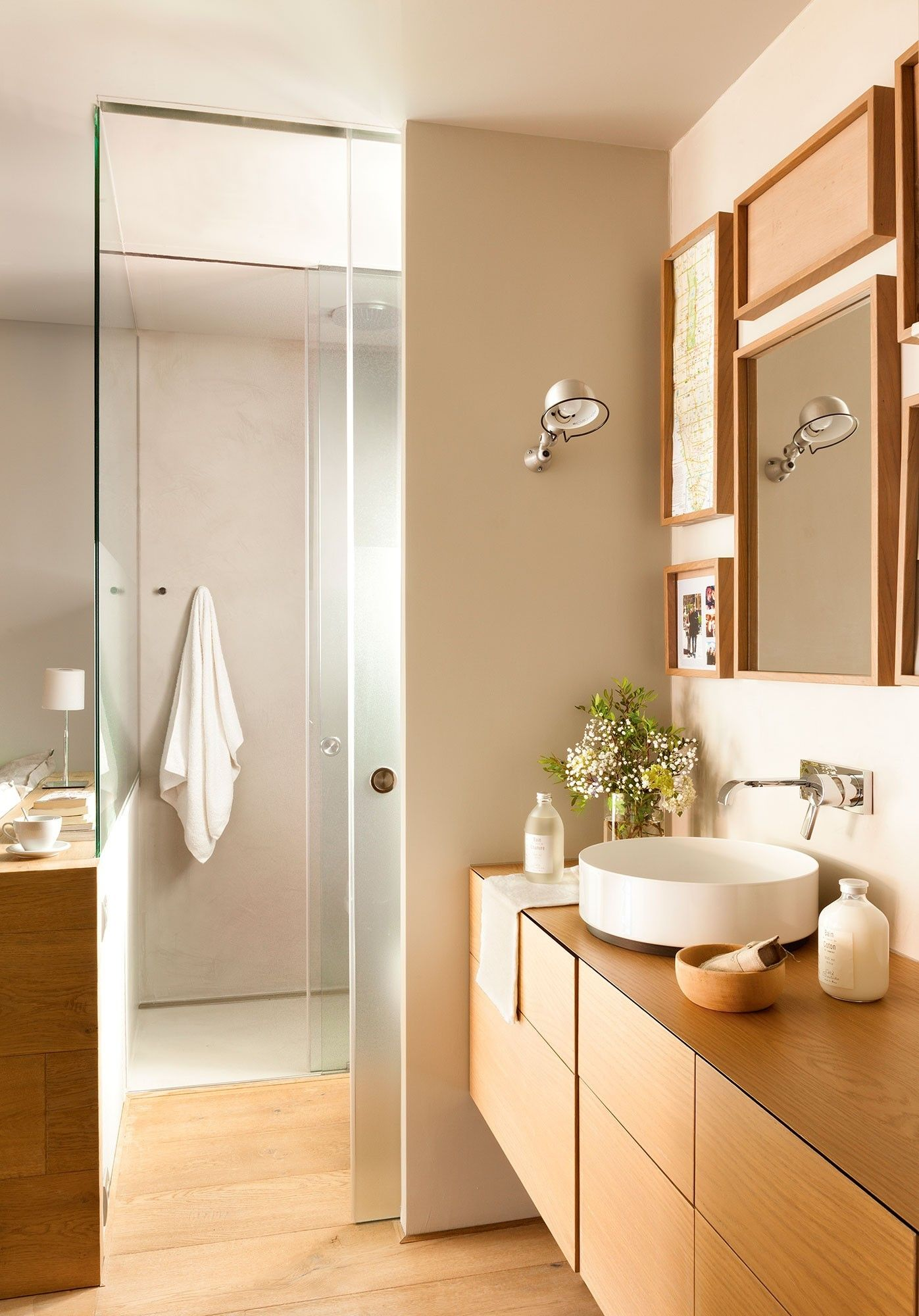 Newer, waterproof products allow a glass wall between the