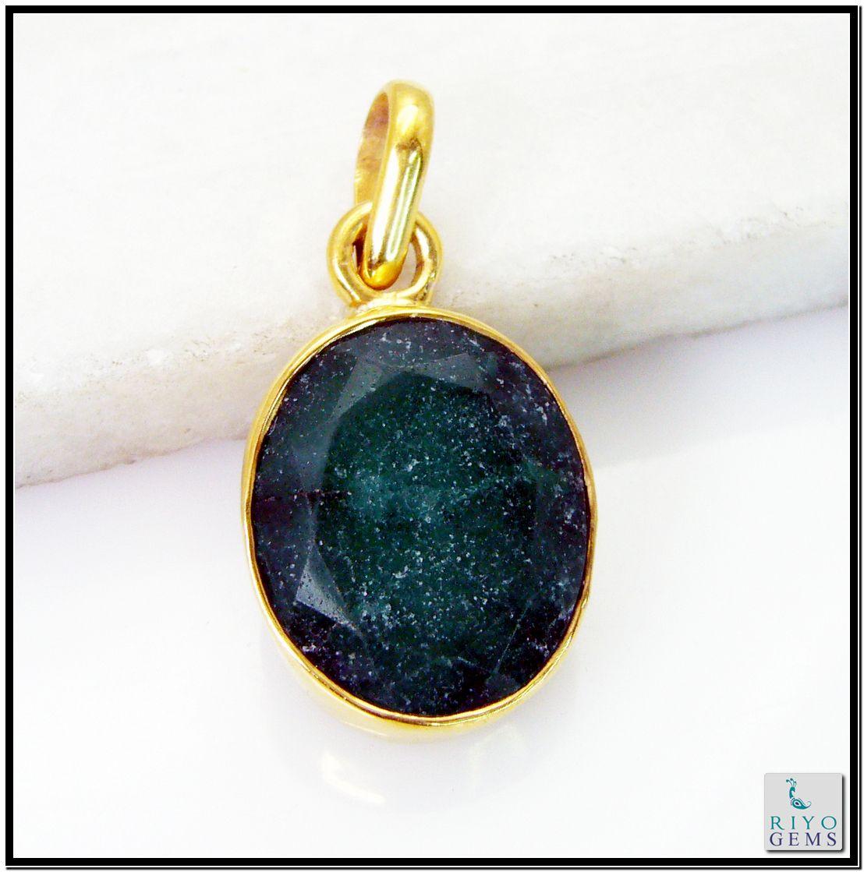 Indian Emerald Gem Stone 18 C Gold Platings Floral Pendants L 1.5in Gppiem-3210 http://www.riyogems.com