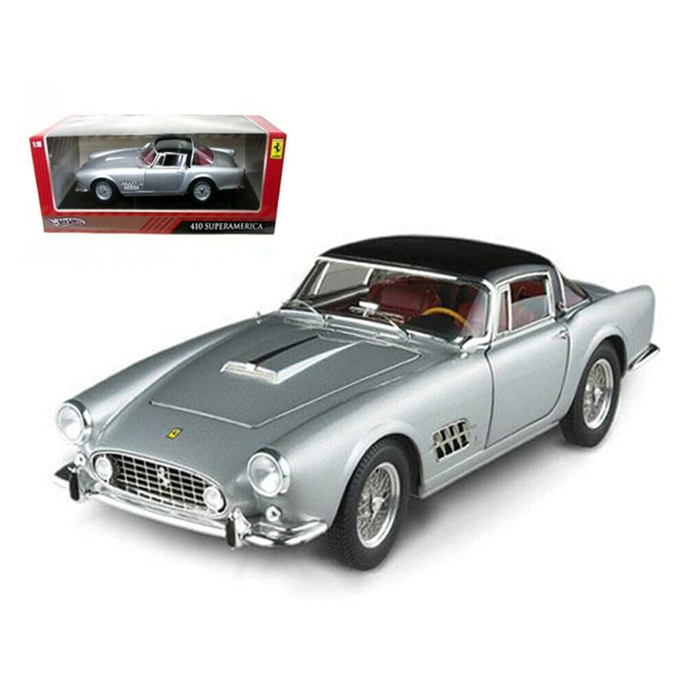 New Ferrari 410 Superamerica Silver 1/18 Diecast Car Model by Hotwheels T6243 #newferrari