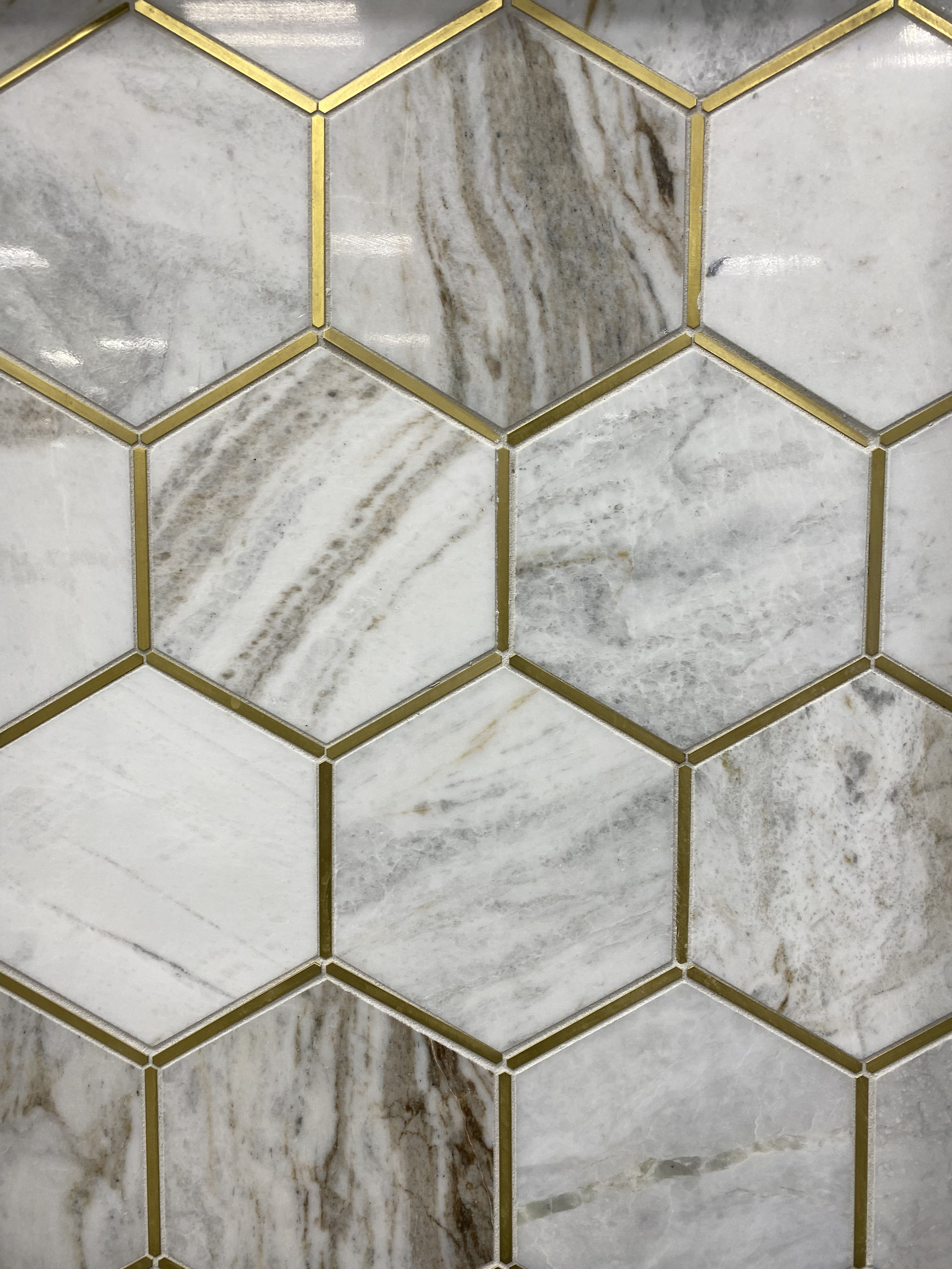 Hexagon Tile With Gold Accents Floor And Decor Hexagon Tiles Decor Hexagon