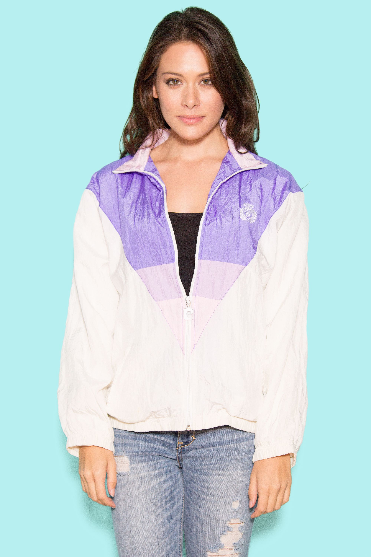 7c5dd8aae1 Pastel Geometric 90s Windbreaker Kawaii Purple White Minimal ...