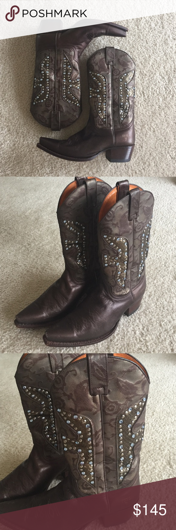 Frye gorgeous cowboy boots Authentic Frye designer cowboy boots; almost brand new; worn once and realized they are too big 😞 gorgeous bronze/ brown color with embossed damask design with integrated snake embossing highlighted with stones!  These are the most highly designed Frye boots I've ever seen but are still understated!  Supple leather that Frye is known for; in perfect condition!! Frye Shoes