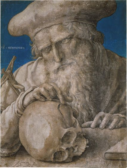 """The philosophical nihilist is convinced that all that happens is meaningless and in vain, and that there ought not to be anything meaningless and in vain.""  —F. Nietzsche, The Will to Power, §36 (excerpt).  St. Jerome Lucas van Leyden––1521"
