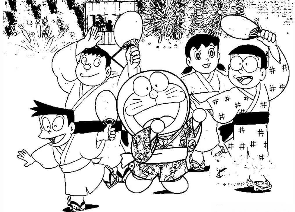 Sketsa Gambar Doraemon Yang Lucu Bersama Kawan Kawan Doraemon Sketsa Gambar