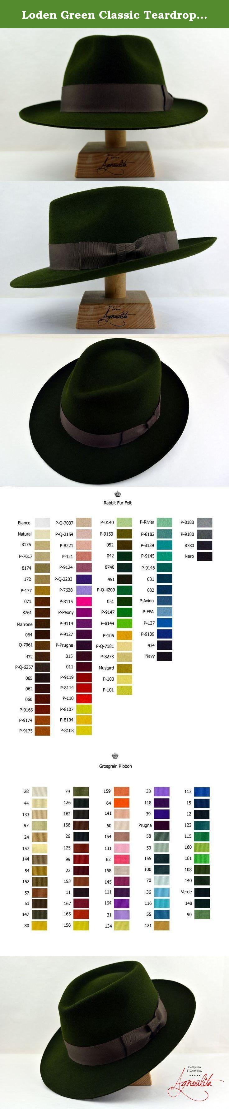 Loden Green Classic Teardrop Fedora - Rabbit Fur Felt Handmade Fedora Hat.  Loden seems like f5f254aab325