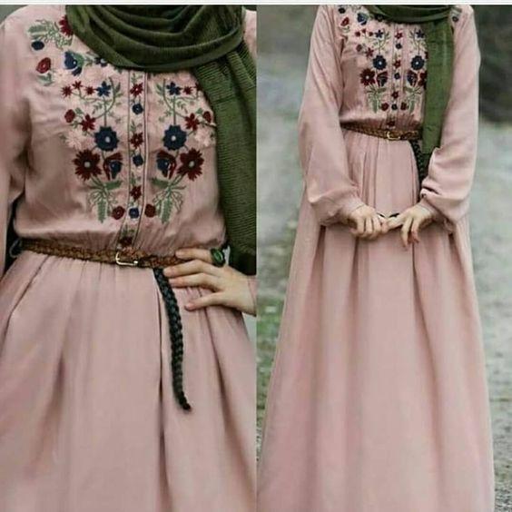 Nakis Islemeli Belmando Kumas Elbise 95 Beden 36 38 40 42 44 Boy 140 Cm S Muslimah Fashion Outfits Muslim Fashion Dress Hijab Fashionista