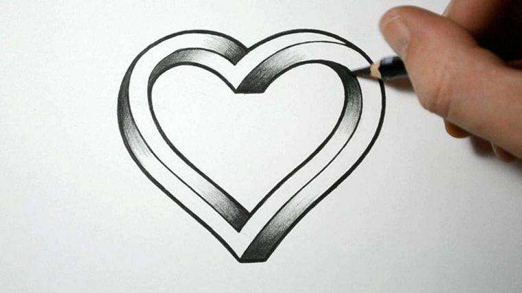 cuore disegnato con la matita disegni facili da fare con