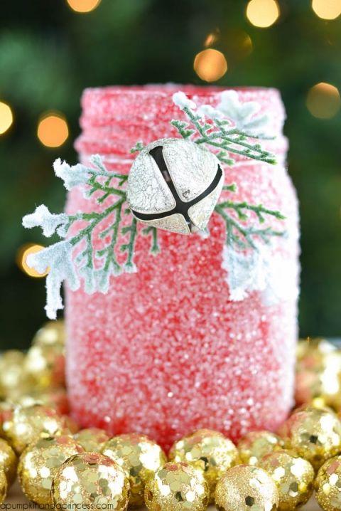 Christmas glitter mason jar centerpiece Mason Jars Pinterest
