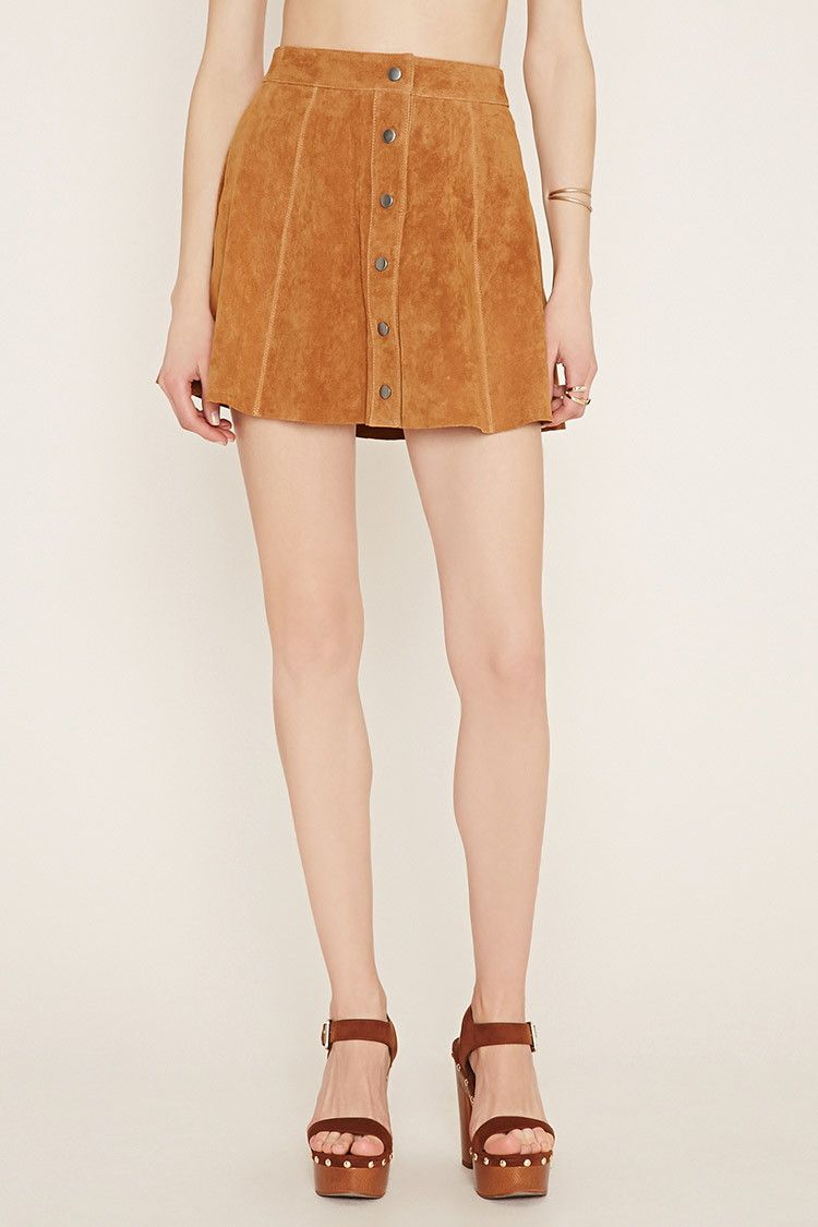 b18c5391c Forever 21 Contemporary Suede Skater Skirt $38 : A genuine suede skater  skirt with a snap-buttoned front. - 100% genuine leather - Professional  leather ...
