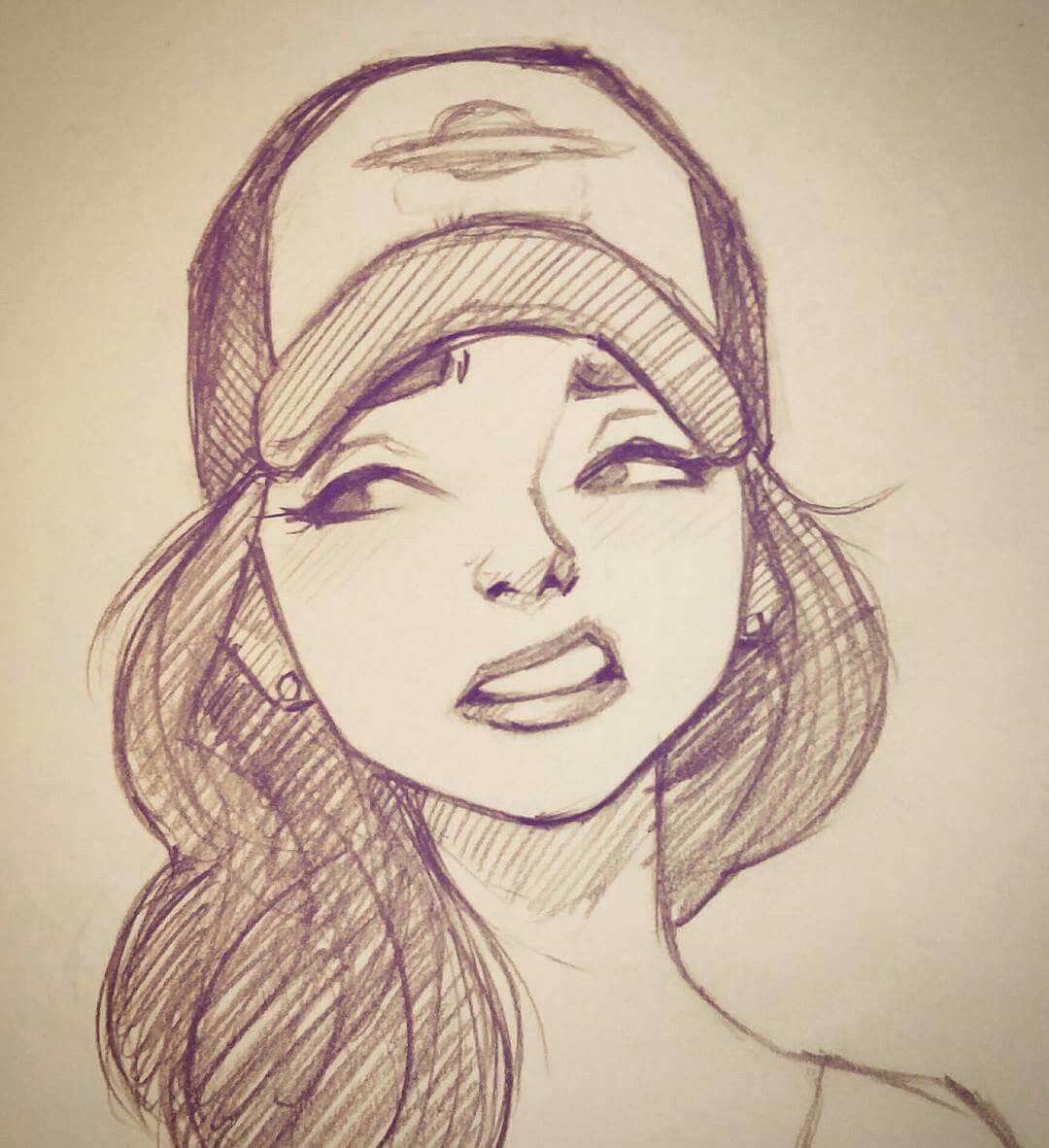 Unknown artist girl face drawing sketch girl face cartoon girl drawing person sketch