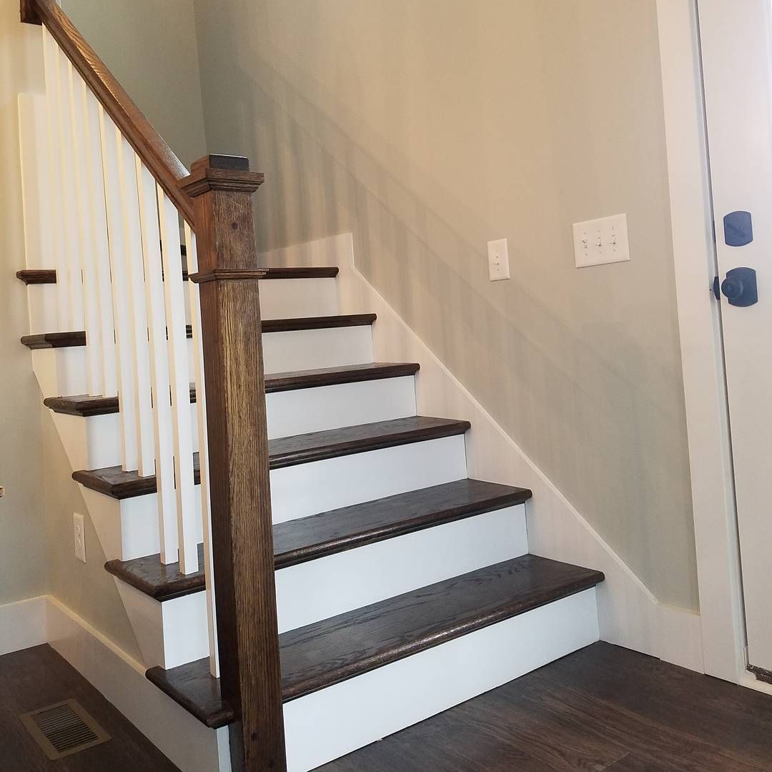 Stairs Stain Is Jacobean To Match Our Mohawk Lvt Floors Color Drifted Sugarberrycottage Southernliving Farmhouse Northcarolina Stairs Cottage Plan Lvt