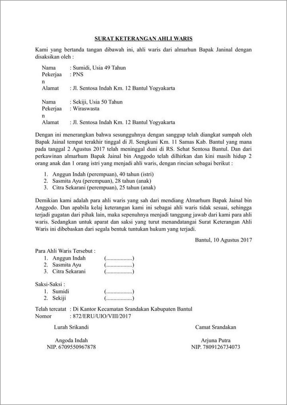 Contoh Surat Ahli Waris dan Bagaimana Cara Mengurus yang