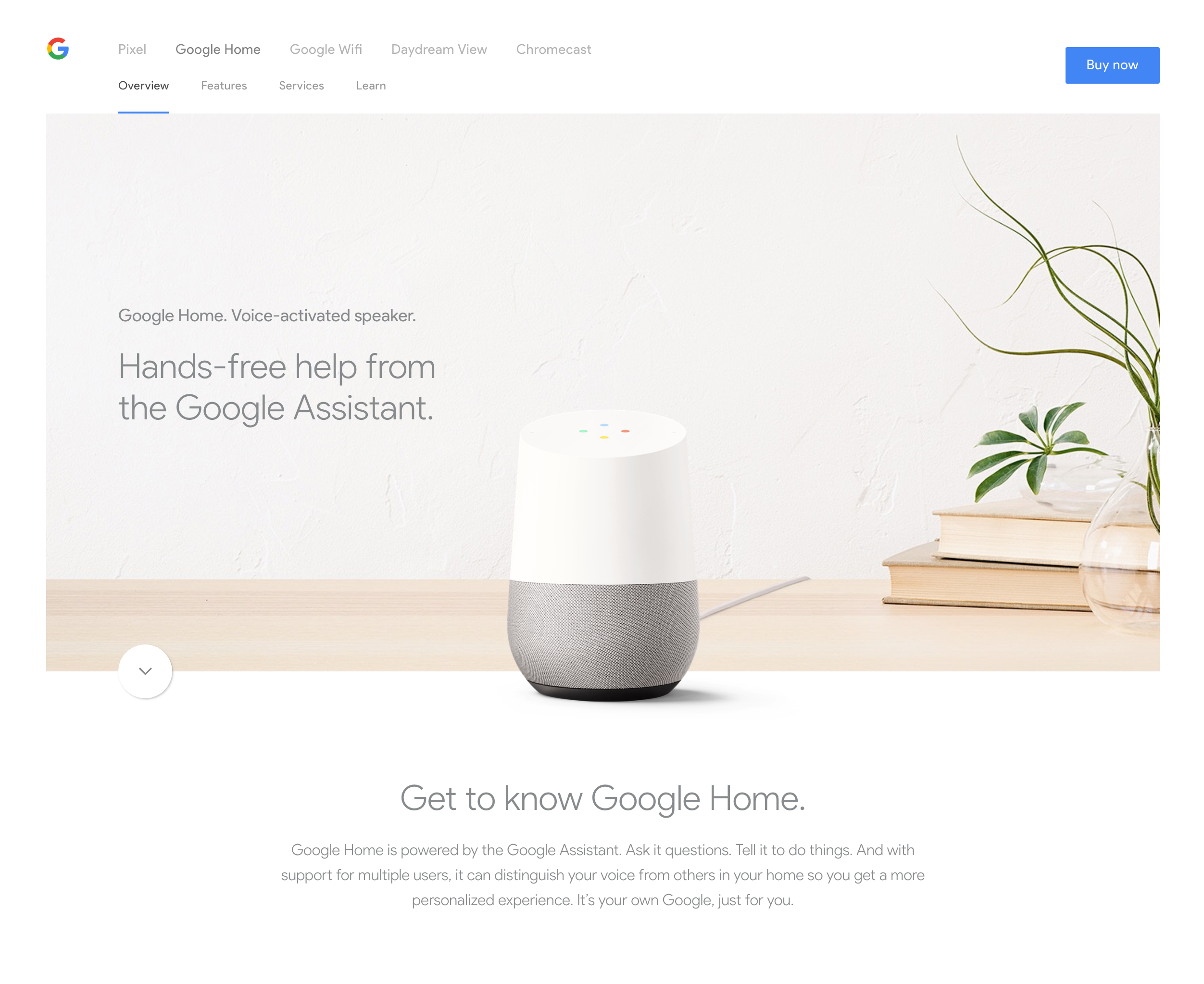 Google Home:Intro, banner image, about/learn more | Product Landing ...