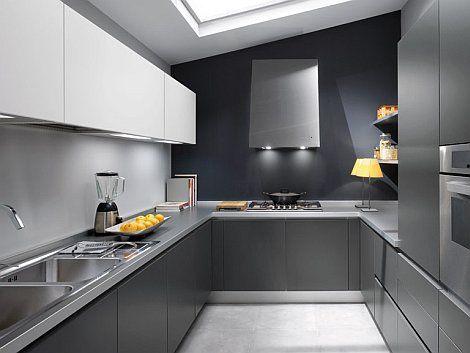 cocina en color gris con meson en aluminio | cocinas | Pinterest ...