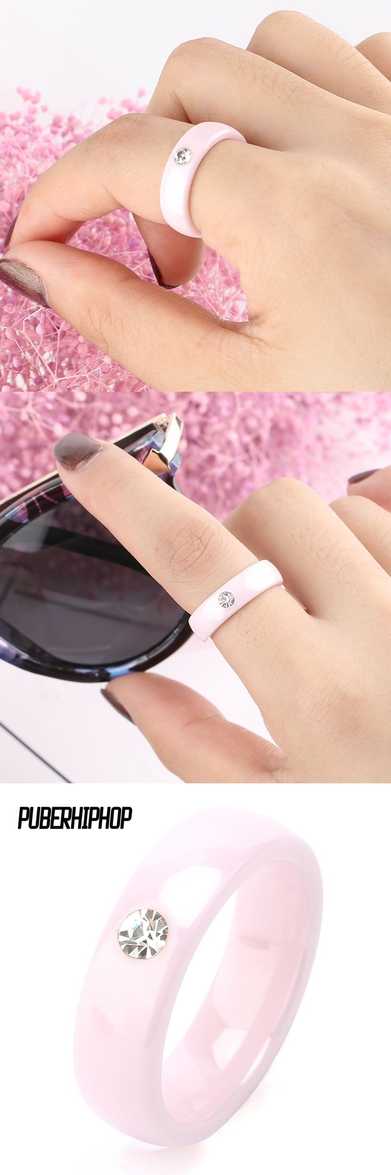 TUHE New Arrival Pink Ceramic Rings For Women Huge Zircon Cabochon ...