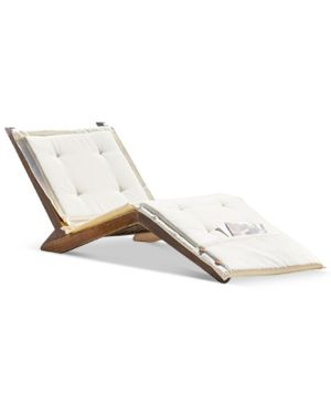 Sheerin Wood Folding Lounger Quick Ship Tan Beige