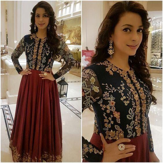 Butiful Juhi Chawla in Shyamal Bhumika floor length anarkali dress.