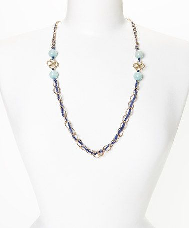Gold & Navy Chalcedony Linked Circles Necklace by PANNEE JEWELRY #zulily #zulilyfinds